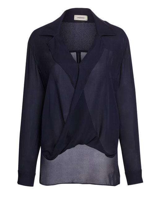 L'Agence - Blue Women's Rita Drape-front Silk Blouse - Ivory - Size L - Lyst
