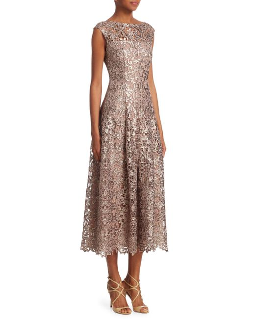 Talbot Runhof - Multicolor Metallic Lace Midi Dress - Lyst