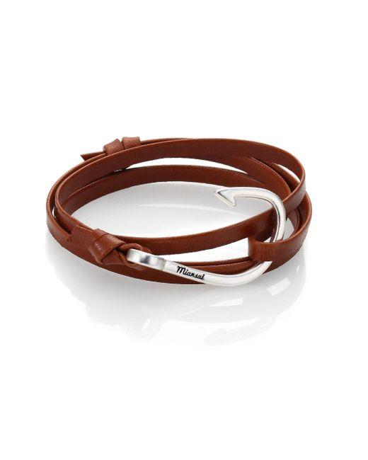 Miansai - Brown Silver Tone Hook Leather Bracelet for Men - Lyst