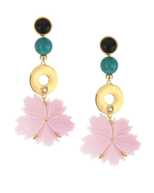 Lizzie Fortunato - Metallic Sardinia 18k Goldplated 3mm Round Pearl & Multi-stone Drop Earrings - Lyst