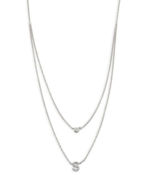 EF Collection - Metallic Diamond Bezel & Initial Pendant Necklace - Lyst