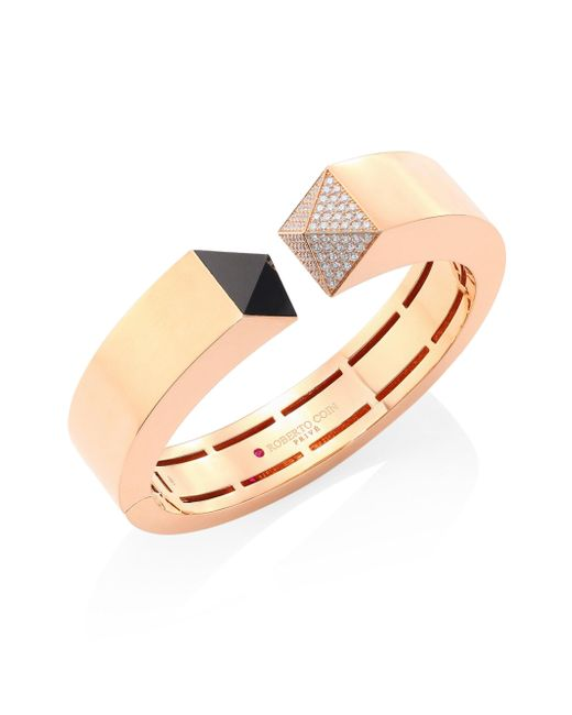Roberto Coin - Metallic Prive Pyramid Pave Diamond, Black Jade & 18k Rose Gold Bangle - Lyst