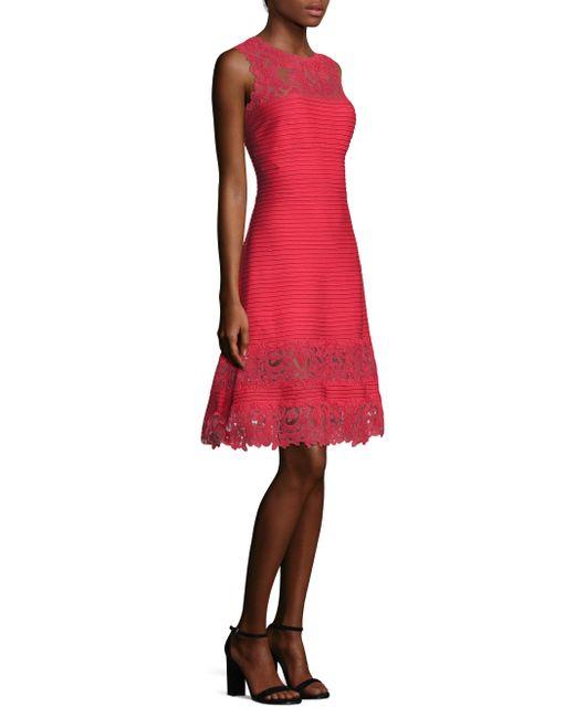 Tadashi Shoji | Red Lace-panel Dress | Lyst