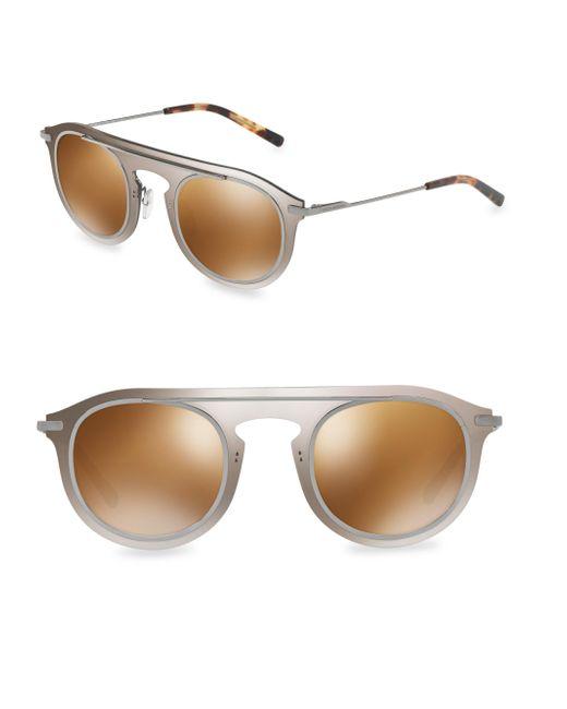 Dolce & Gabbana   Metallic 48mm Round Sunglasses   Lyst