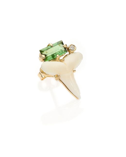 Jacquie Aiche | Metallic Shark Tooth, Tourmaline Diamond & 14k Yellow Gold Single Stud Earring | Lyst