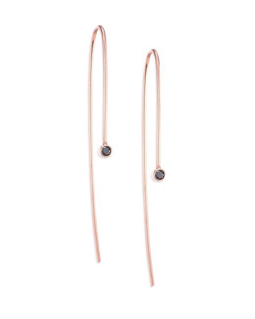 Zoe Chicco   Metallic Black Diamond & 14k Rose Gold Threader Earrings   Lyst