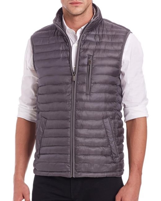 Saks Fifth Avenue - Gray Thermoluxe Puffer Vest for Men - Lyst