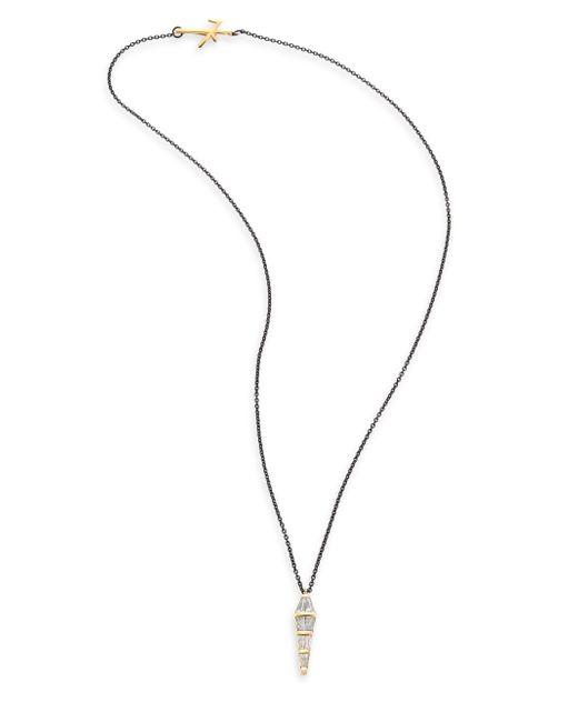 Nikos Koulis | Metallic Tapered Diamond & 18k Black Gold Pendant Necklace | Lyst