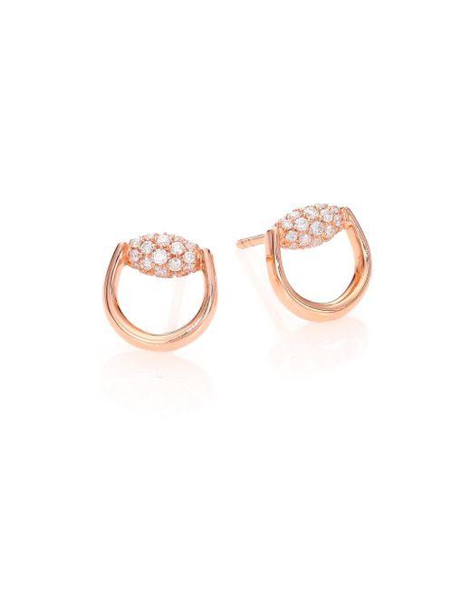 Gucci - Metallic Horsebit Diamond & 18k Rose Gold Stud Earrings - Lyst