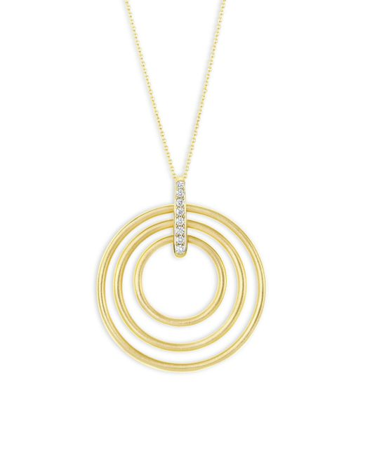 Carelle - Metallic Moderne Diamond & 18k Yellow Gold Trio Pendant Necklace - Lyst
