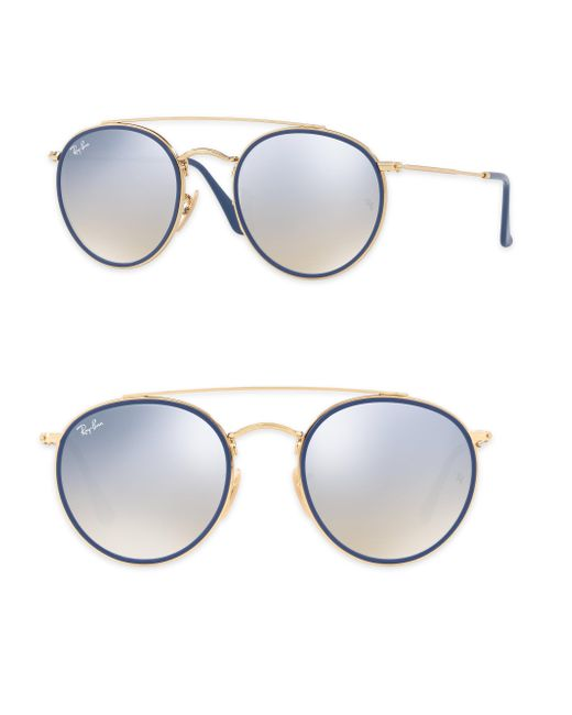 Ray-Ban - Metallic 51mm Mirrored Round Double Bridge Sunglasses - Lyst