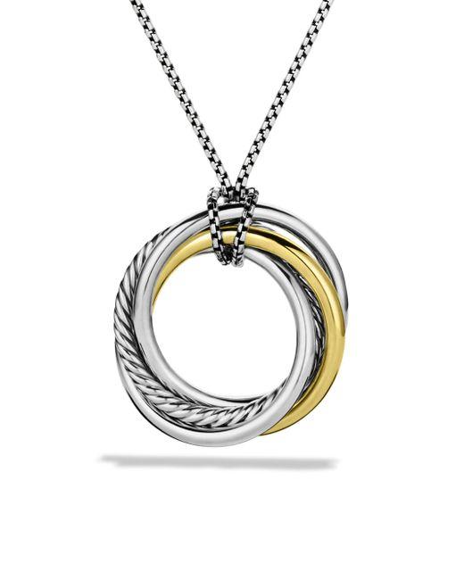 David Yurman - Metallic Crossover Pendant With Gold On Chain - Lyst