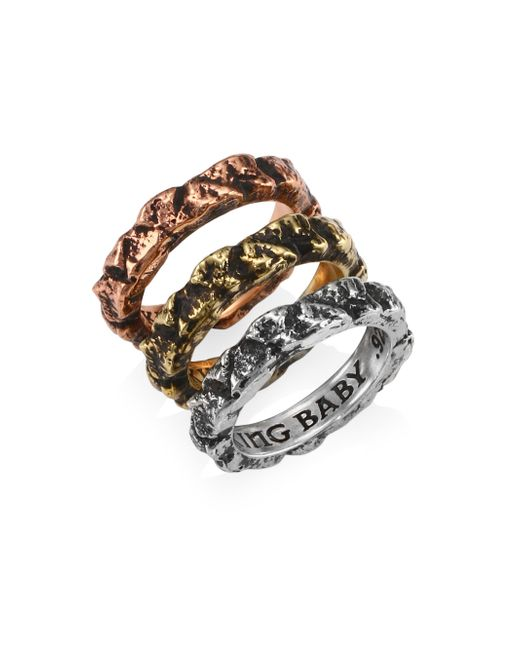 King Baby Studio - Metallic Sterling Silver Temple Ruin Multicolored Stacking Rings - Lyst
