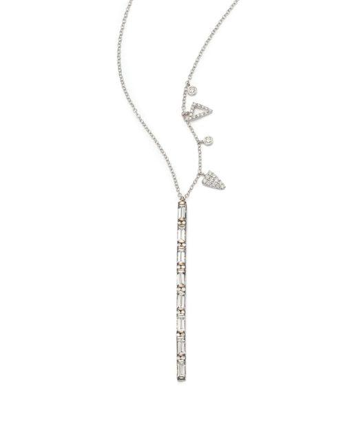 Meira T   Metallic White Topaz, Diamond & 14k White Gold Bar Pendant Necklace   Lyst