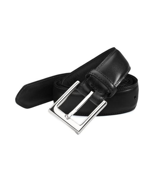 Saks Fifth Avenue - Black Leather Belt for Men - Lyst