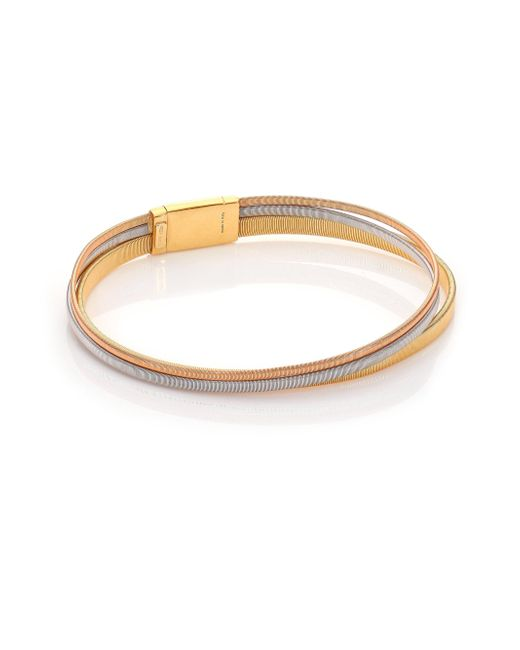 Marco Bicego - Metallic Masai 18k Yellow Gold, 18k White Gold & 18k Rose Gold Multi-row Bracelet - Lyst