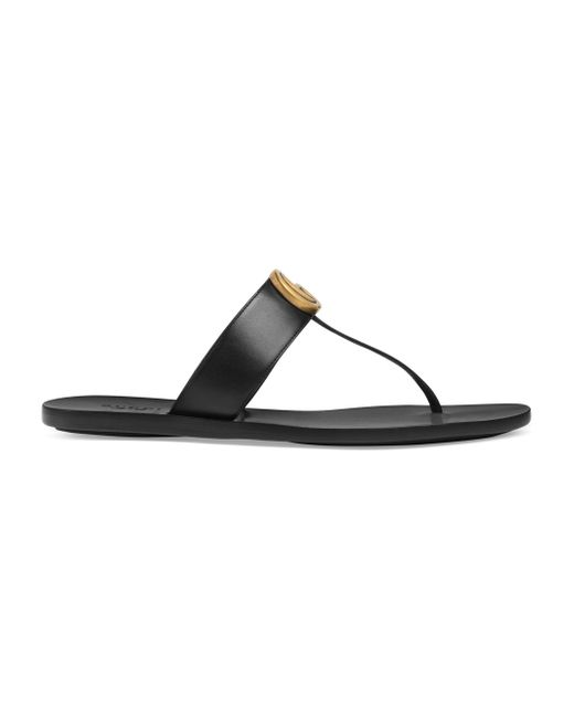 30210eb43e52 Lyst - Gucci Black Double G Leather Thong Sandals in Black - Save 13%