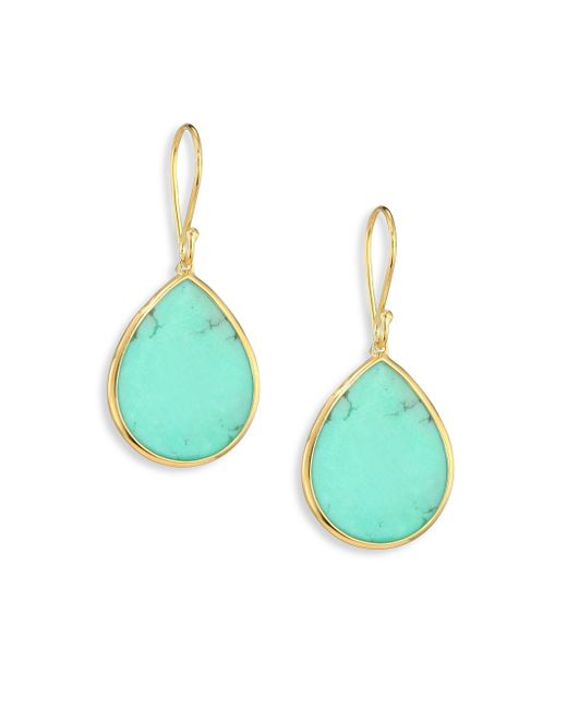 Ippolita - Blue Polished Rock Candy Turquoise & 18k Yellow Gold Mini Teardrop Earrings - Lyst