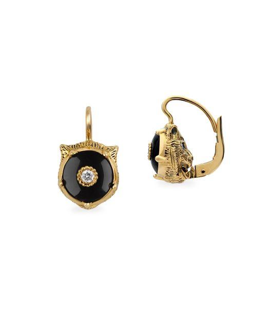 Gucci - Metallic Feline Head Onyx & Diamond Drop Earrings - Lyst