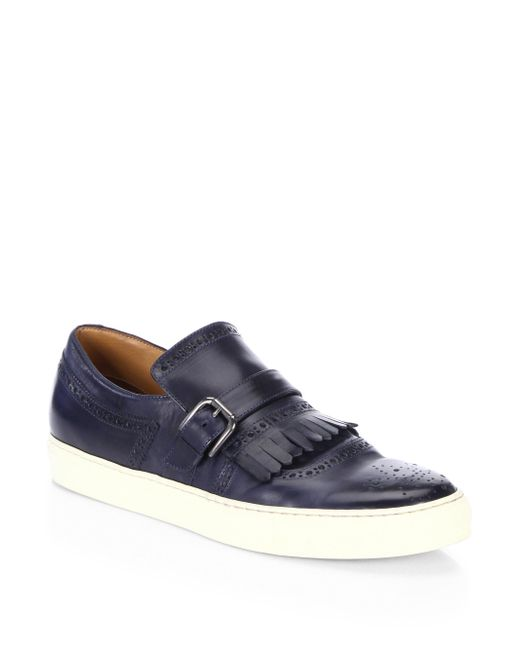 Saks Fifth Avenue   Blue Collection Kilty Buckle Leather Slip-on Sneakers   Lyst