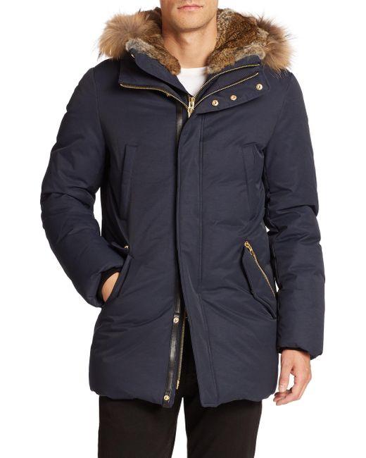Mackage - Blue Fur-trim Hip-length Down Jacket for Men - Lyst