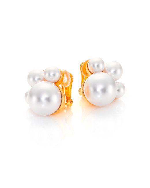 Kenneth Jay Lane | Metallic Faux Pearl Cluster Clip Earrings | Lyst
