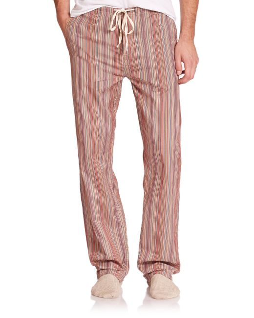Paul Smith - Red Striped Cotton Pajama Pants for Men - Lyst