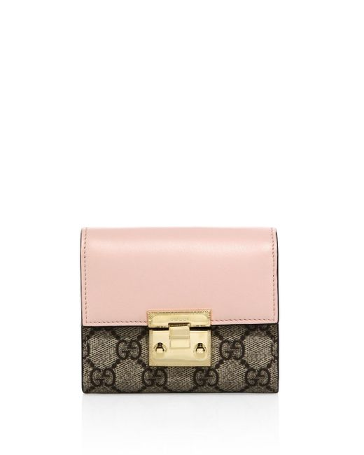 Gucci - Pink Padlock Gg Supreme Leather French Flap Wallet - Lyst