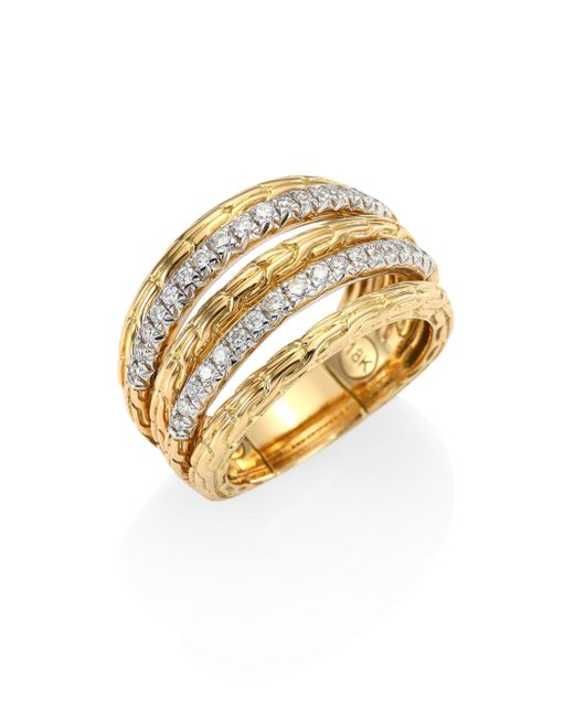 John Hardy | Metallic Bamboo Diamond & 18k Yellow Gold Ring | Lyst