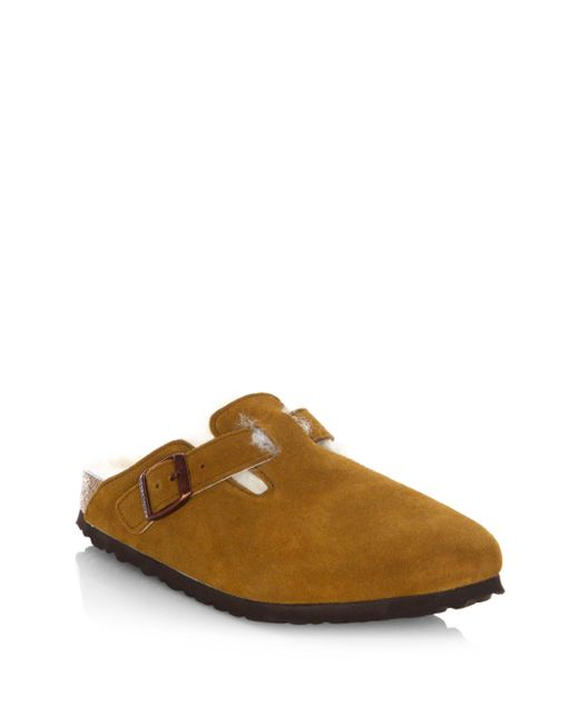 Birkenstock | Brown Boston Shearling Lined Suede Clogs | Lyst