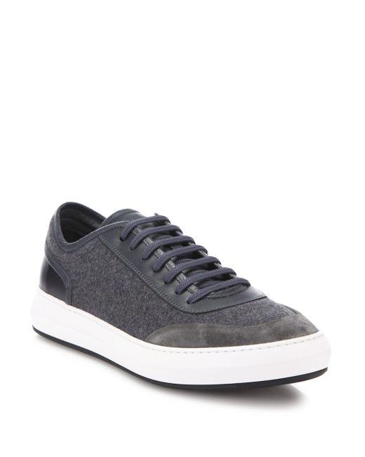 Ferragamo | Gray Glory Mix Media Low Top Leather & Wool Sneaker for Men | Lyst