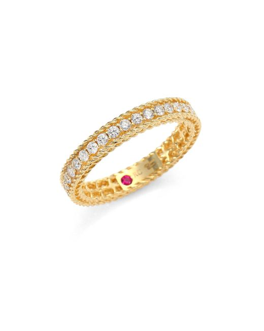 Roberto Coin - Metallic Symphony Braided Diamond & 18k Yellow Gold Band Ring - Lyst