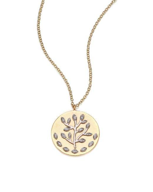 Meira T - Metallic Diamond & 14k Yellow & White Gold Tree Of Life Necklace - Lyst