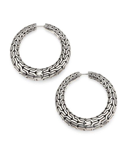 John Hardy - Metallic Classic Chain Sterling Silver Hoop Earrings/0.8 - Lyst