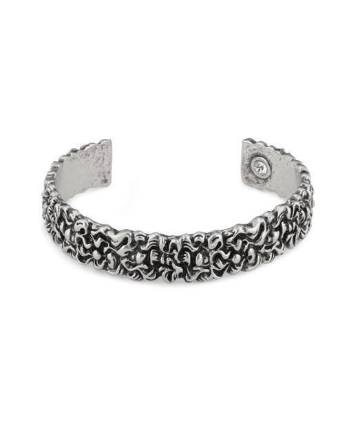 Gucci - Metallic Engraved Lion Mane Metal Cuff Bracelet - Lyst