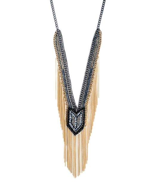 ABS By Allen Schwartz - Metallic Smoke & Mirrors Fringe Beaded Y Necklace - Lyst