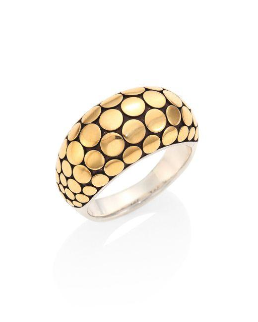John Hardy | Metallic Dot 18k Yellow Gold & Sterling Silver Ring | Lyst