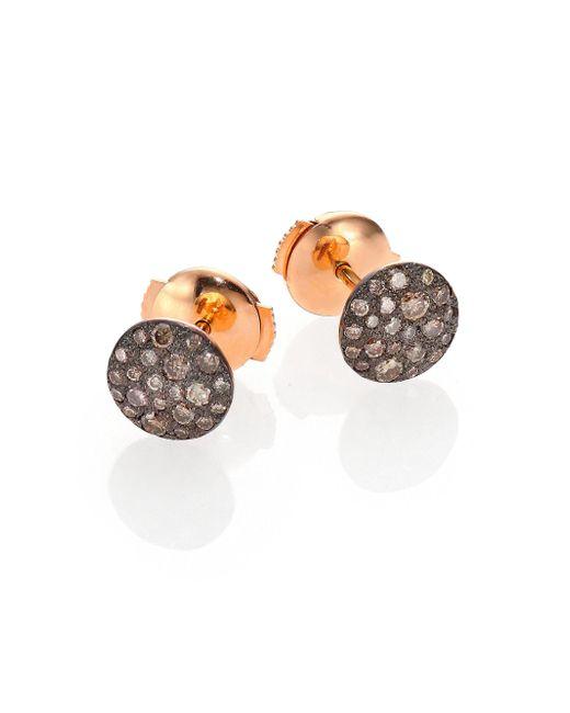 Pomellato - Pink Sabbia Brown Diamond & 18k Rose Gold Stud Earrings - Lyst