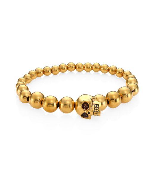 Alexander McQueen - Metallic Brass Skull Ball Bracelet - Lyst