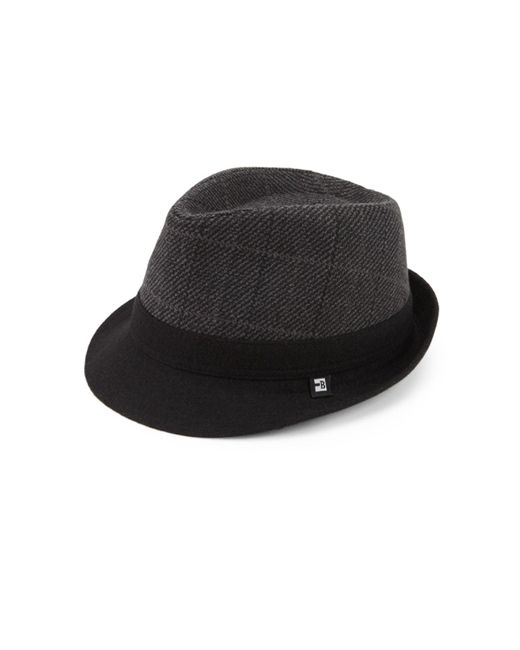 Block Headwear - Black Tonal Plaid Fedora Hat for Men - Lyst