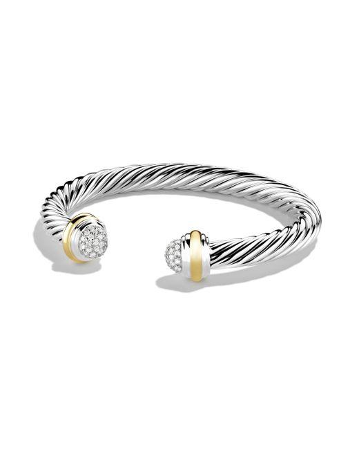 David Yurman - Metallic 7mm Pave Tipped Bracelet - Lyst