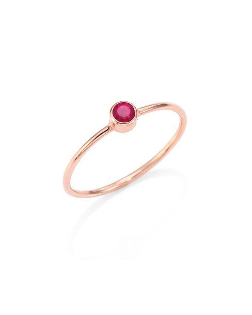 Zoe Chicco - Metallic Ruby & 14k Rose Gold Ring - Lyst