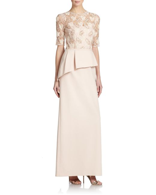 Teri Jon - Natural Embellished Lace Peplum Gown - Lyst