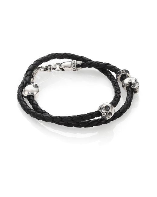 King Baby Studio - Black Thin-braided Double Wrap Leather Bracelet for Men - Lyst
