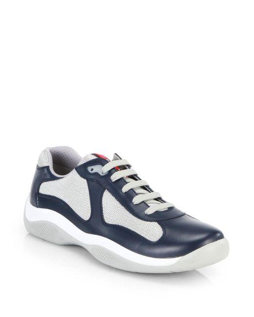 Mens Leather & Mesh Sneakers Prada aVw9r
