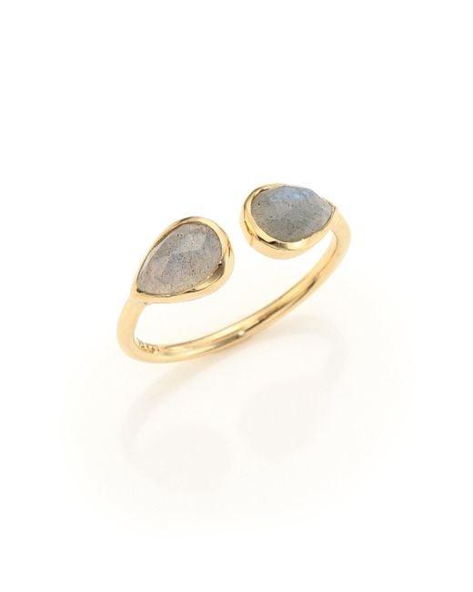 Jacquie Aiche - Metallic Double Teardrop Labradorite & 14k Yellow Gold Ring - Lyst