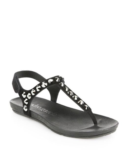 Pedro Garcia | Black Judith Studded Suede Thong Sandals | Lyst
