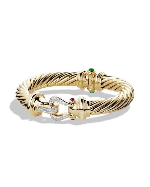 David Yurman - Metallic Cable Classic Bracelet In Gold With Diamonds, 10mm - Lyst