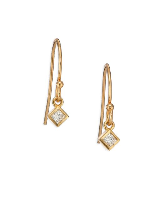 Zoe Chicco | Metallic Diamond & 14k Yellow Gold Princess Drop Earrings | Lyst