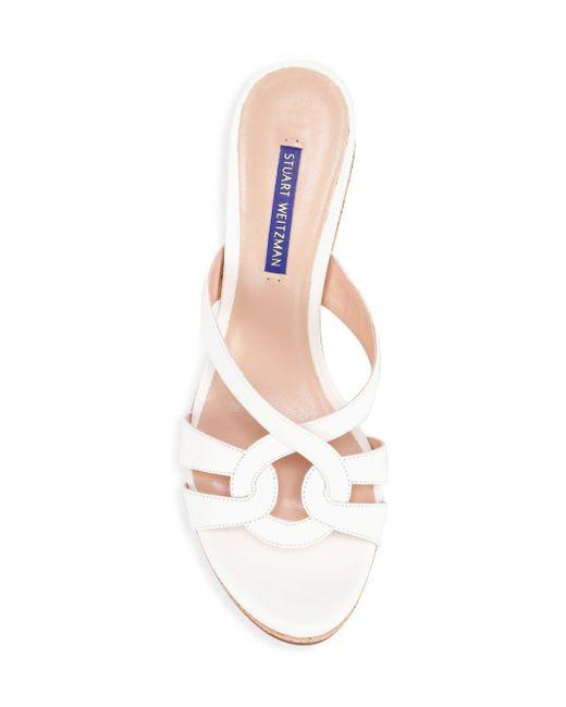 bfa3e94bffcd ... Stuart Weitzman - White Cadence Cork   Leather Platform Wedge Sandals -  Lyst